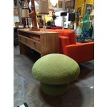 Image of 1960s Fleece Covered Green Ottoman