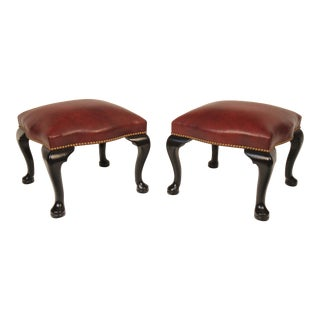 Black Lacquer & Burgundy Leather Benches - A Pair