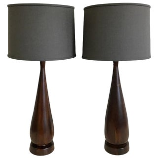Phillip Lloyd Walnut Bottle Form Lamps - A Pair