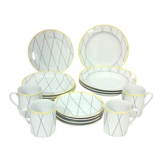 Modernist Grid Luncheon Set - 16 Pieces