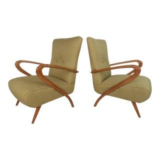 Italian Modern Sculptural Lounge Chairs Paolo Buffa Style - a Pair