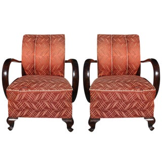 1940s Vintage French Art Deco Curved-Arm Solid Walnut Club Chairs - a Pair