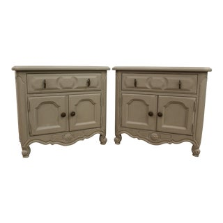 French Country Carved Gray Chalk Painted Nightstands - A Pair