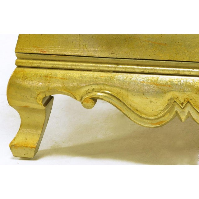 Pair Henredon Gold Toned Silver Leaf Bombe Two-Drawer Commodes - Image 8 of 10