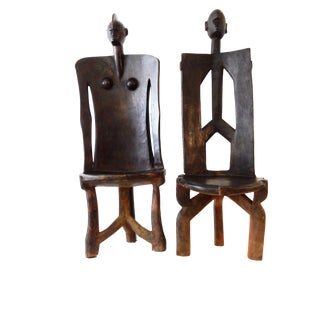 3-Legged Makonde Chairs, Pair
