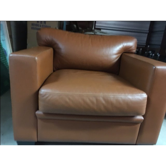 Image of Leather Arm Chairs in Dark Tan - 2
