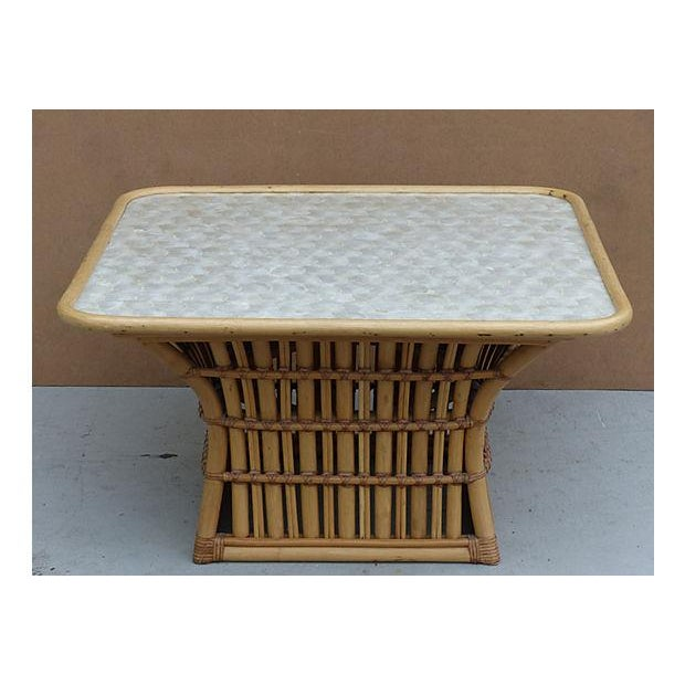 Round White Capiz Coffee Table: Rattan & Capiz Shell Maguire Style Coffee Table