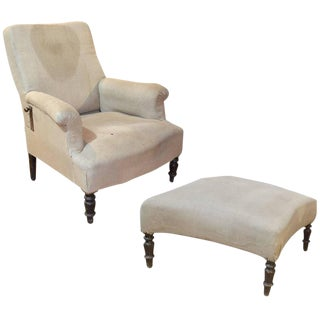 French Napoleon III Reclining Chair with Ottoman