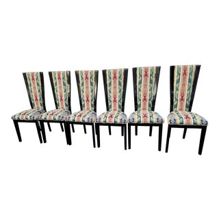 Black Lacquer & Upholstered Dining Chairs - Set of 6