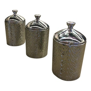 Textured Metallic Candle Holders - Set of 3