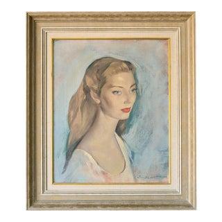 Mid Century Lady Portrait Oil Painting