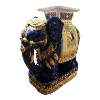 Asian Vintage Porcelain Elephant Planter