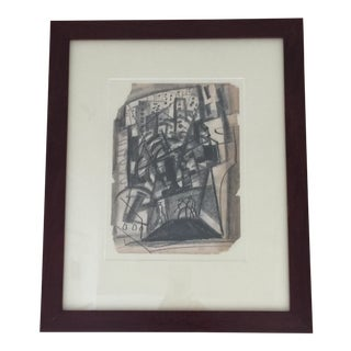 Abstract Charcoal Drawing by Irving Lehman