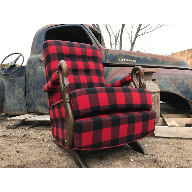 Buffalo Check Antique Gooseneck Platform Rocking Chair