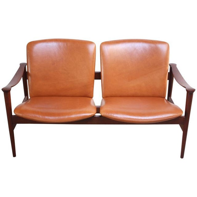 Fredrik Kayser Loveseat in Leather and Teak - Image 3 of 11