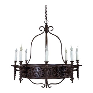 Vintage French Iron Chandelier Eight Lights circa 1920