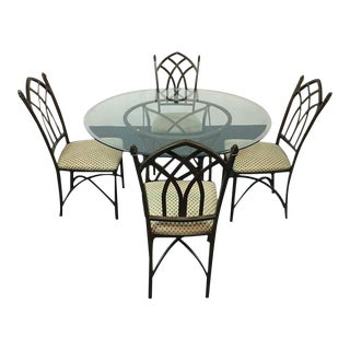 Wrought Iron & Glass Top Dining Set