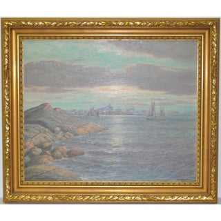 Vintage Seascape With Sailboats Oil Painting