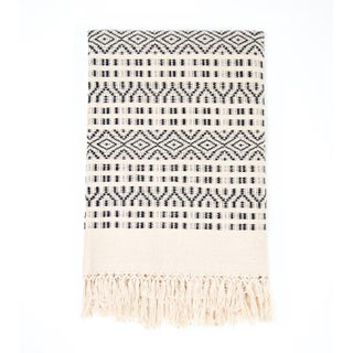 Black & Cream Handwoven Chiapas Throw