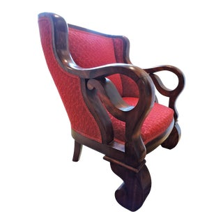 Antique Flame Mahogany Parlor Chair, 1880