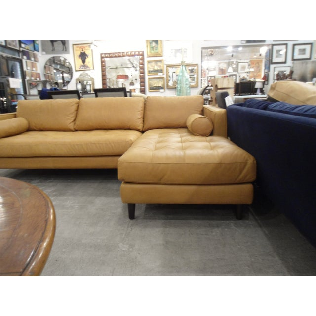 Tan Leather Sectional Sofa, Right Chaise, Tufted Seating - Image 6 of 8
