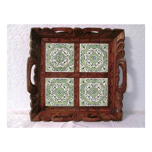 Mexican Carved Wood Green Tile Tray - Image 3 of 5