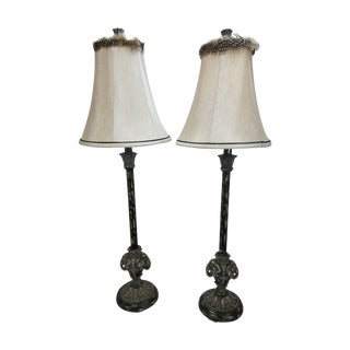 Silver / Black Painted Candlestick Elephant Lamps
