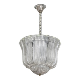 Barovier and Toso Clear Glass Hanging Fixture or Lantern