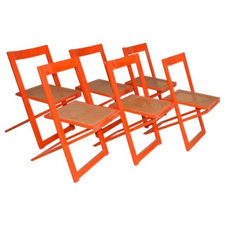 Mid-Century Italian Red Lacquer Folding Chairs