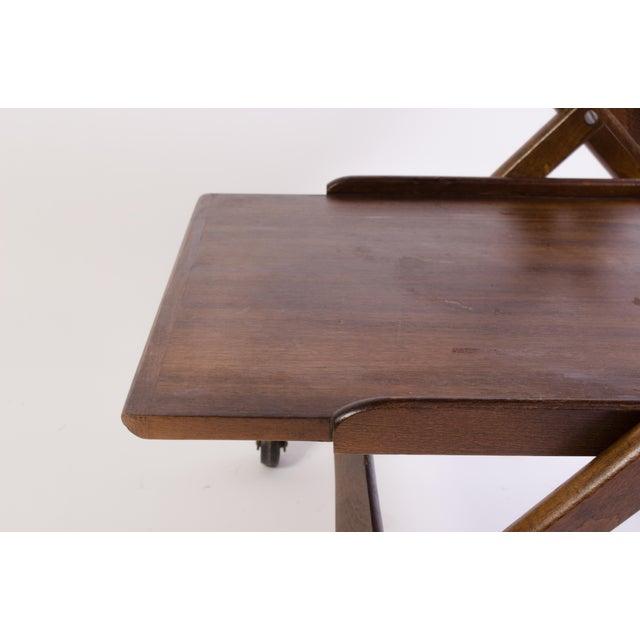 Danish Folding Walnut Bar Cart With Serving Tray - Image 10 of 11
