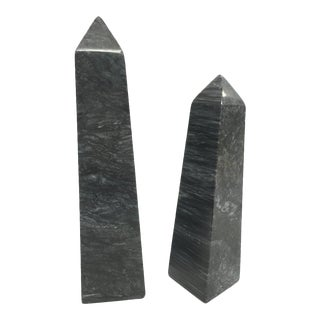Black Marble Decorative Obelisks - a Pair