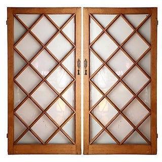 Pine Diamond Paneled Doors - A Pair