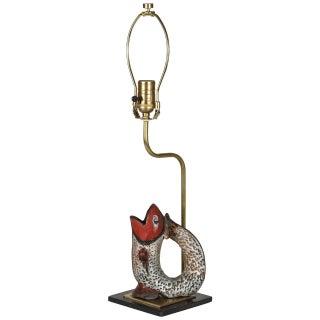 Fish Shaped Folk Art Pitcher Lamp