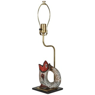 Fish Shaped Folk Art Pitcher Lamp