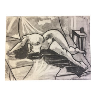 1950s Vintage Charcoal Female Nude Study by Henry Woon
