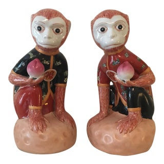 Chinese Ceramic Monkeys - A Pair