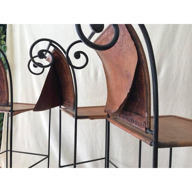 Scrolled Iron & Leather Bar Stools - Set of 3 - Image 8 of 11