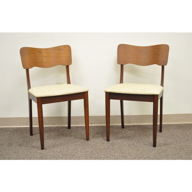 Gustav Bahus Norway Mid Century Danish Modern Teak Ribbon Dining Chairs - Set of 4 - Image 3 of 11