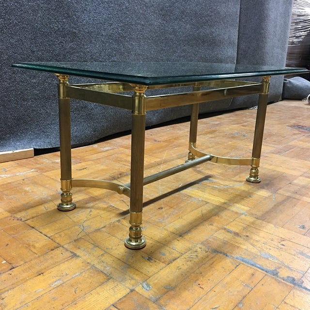 Hollywood Regency Brass & Glass Coffee Table - Image 6 of 6