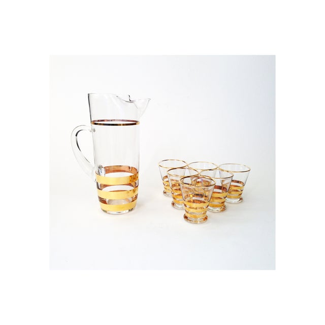 Mid-Century Gold Striped Pitcher & Six Glasses - Image 2 of 6