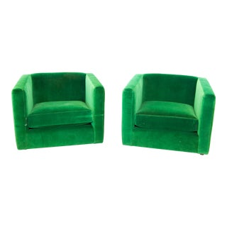 Mid-Century Emerald Green Side Chairs - A Pair