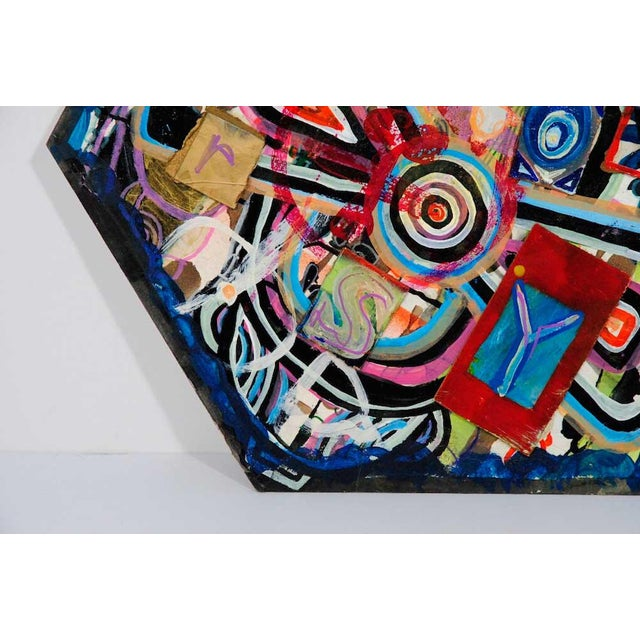 Antjuan Oden Hexagon Assemblage Painting - Image 4 of 5