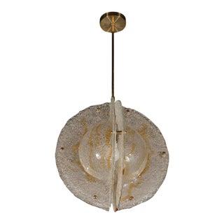 Italian Mid-Century Modern Murano Globe Pendant with Amber Detailing by Mazzega