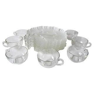 Vintage Clear Glass Breakfast Set - S/7