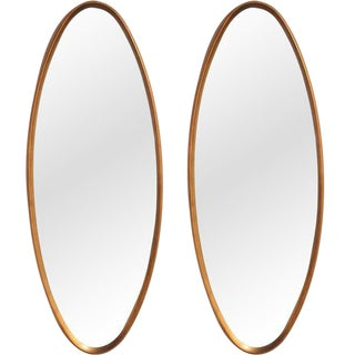 La Barge Oval Water-Gilt Frame Mirrors - a Pair