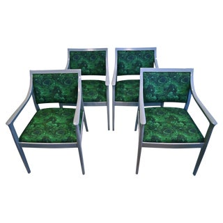 Bernhardt Lacquered Malachite Chairs - Set of 4