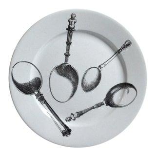Piero Fornasetti Pottery Plates in Posate Rinascimento Pattern - a Pair