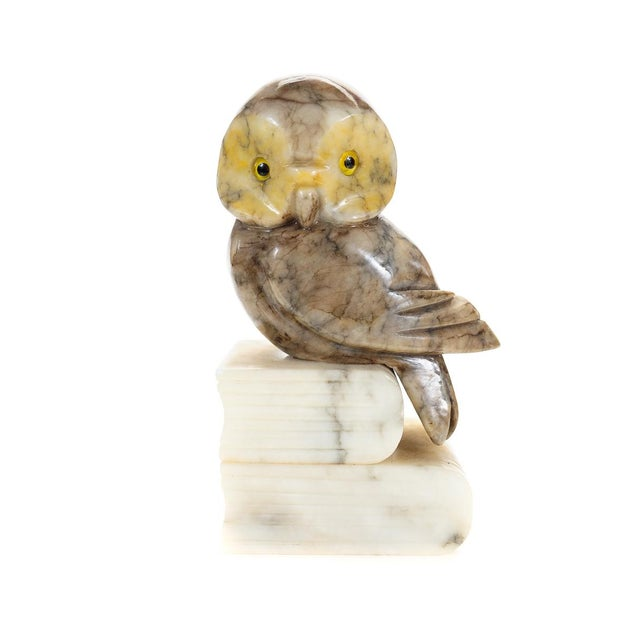 Vintage Alabaster Owl Bookends- A Pair - Image 3 of 9