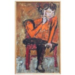 Image of Woman and Red Chair