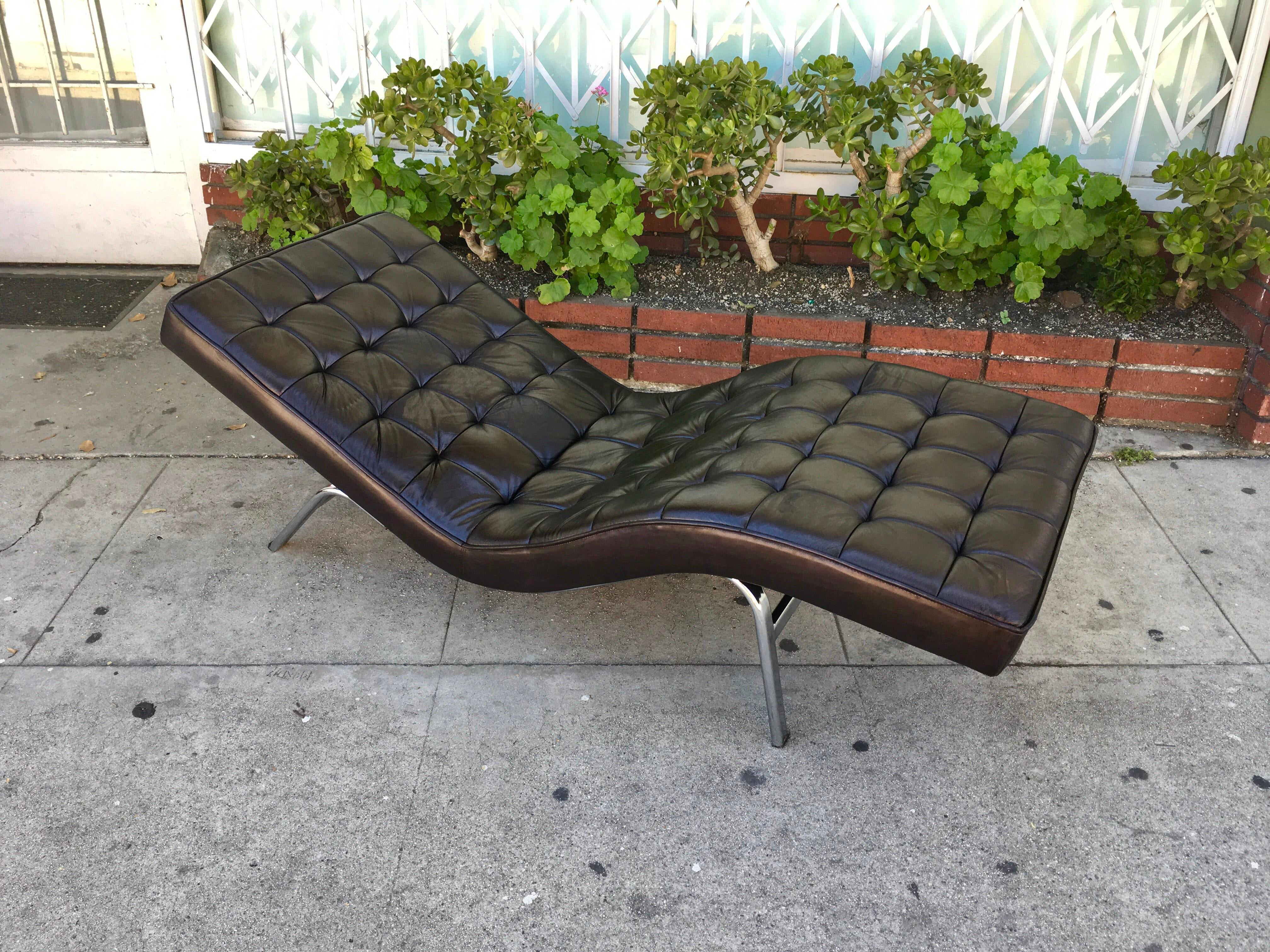 Vintage Black Leather Chaise Lounge Chair - Image 5 of 5  sc 1 st  Chairish : where to buy chaise lounge - Sectionals, Sofas & Couches